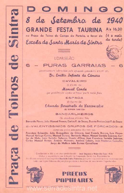 Cartaz de Tourada em Sintra 4 Praça de touros de Sintra