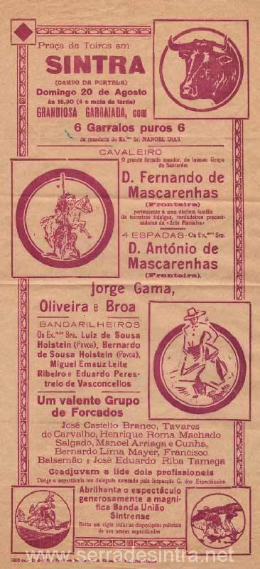 Cartaz de Tourada em Sintra 5 Praça de touros de Sintra