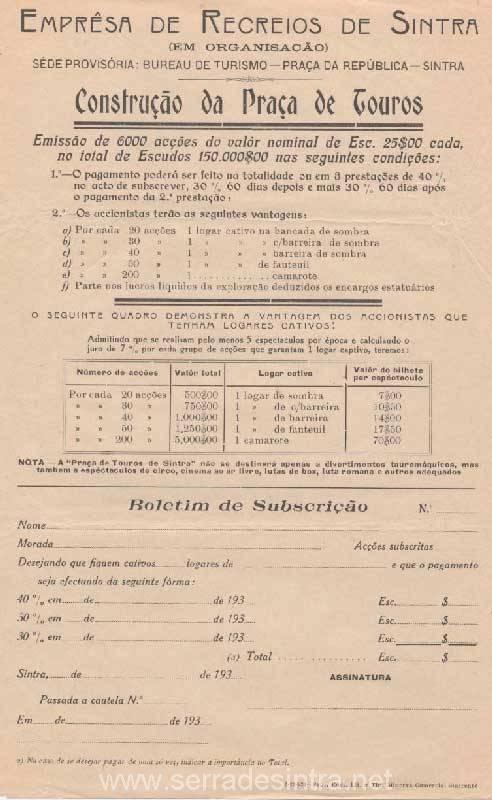Cartaz da Empresa de recreios de Sintra 1931
